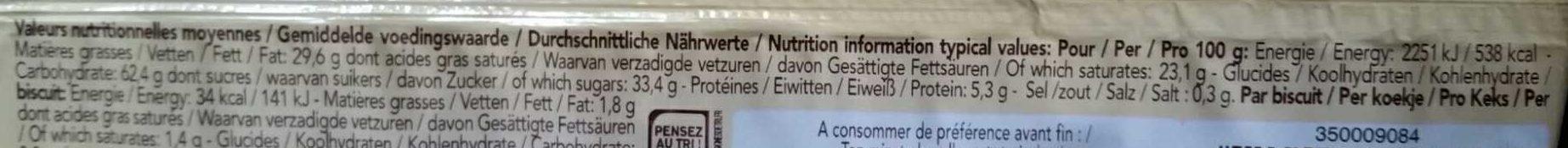 Delacre croustifondante gaufrette vanille - Informazioni nutrizionali - fr