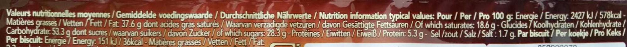 Delacre croustifondante gaufrette chocolat - Informations nutritionnelles - fr