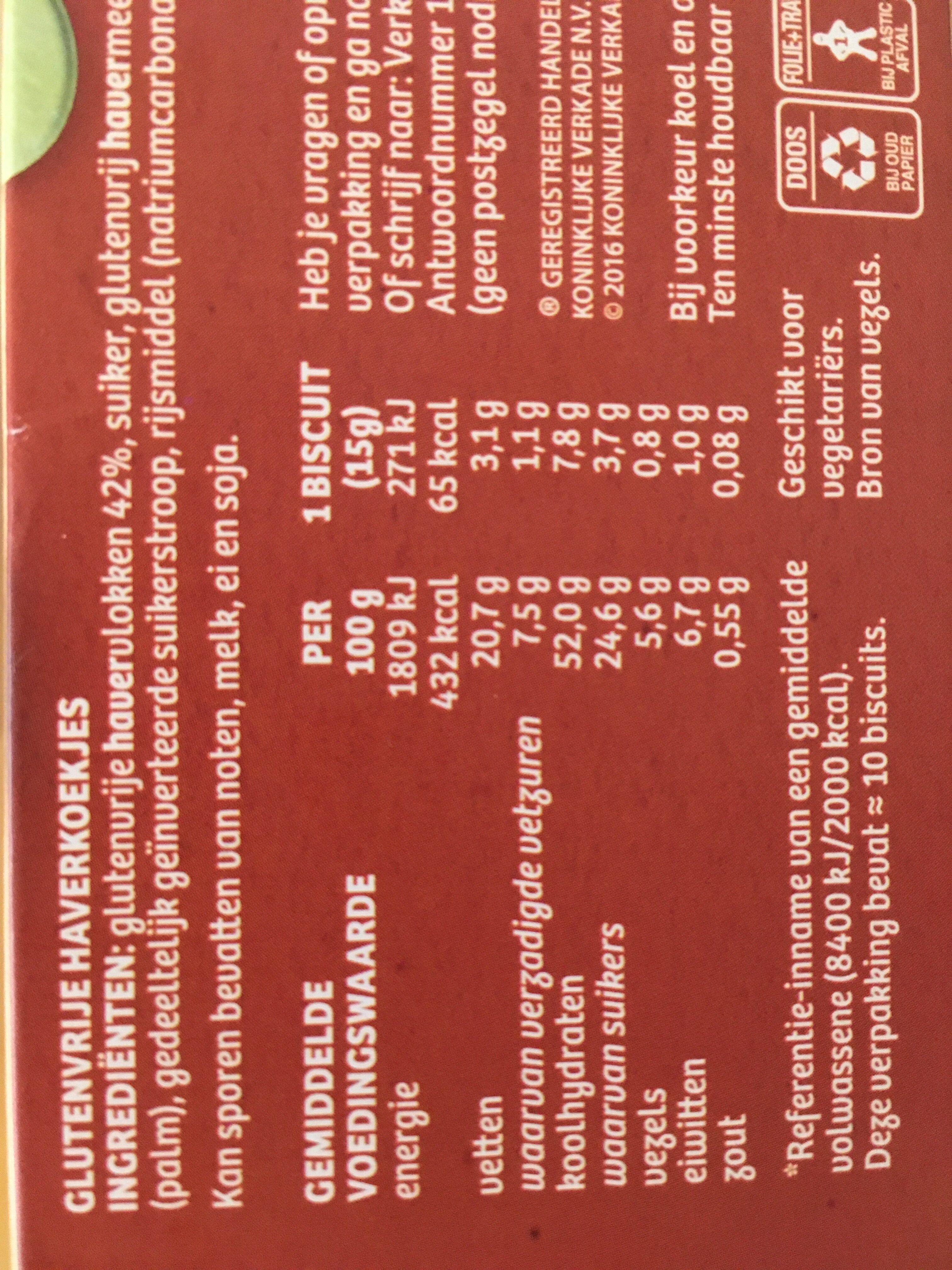 Verkade Glutenvrije Oaties - Voedingswaarden - nl