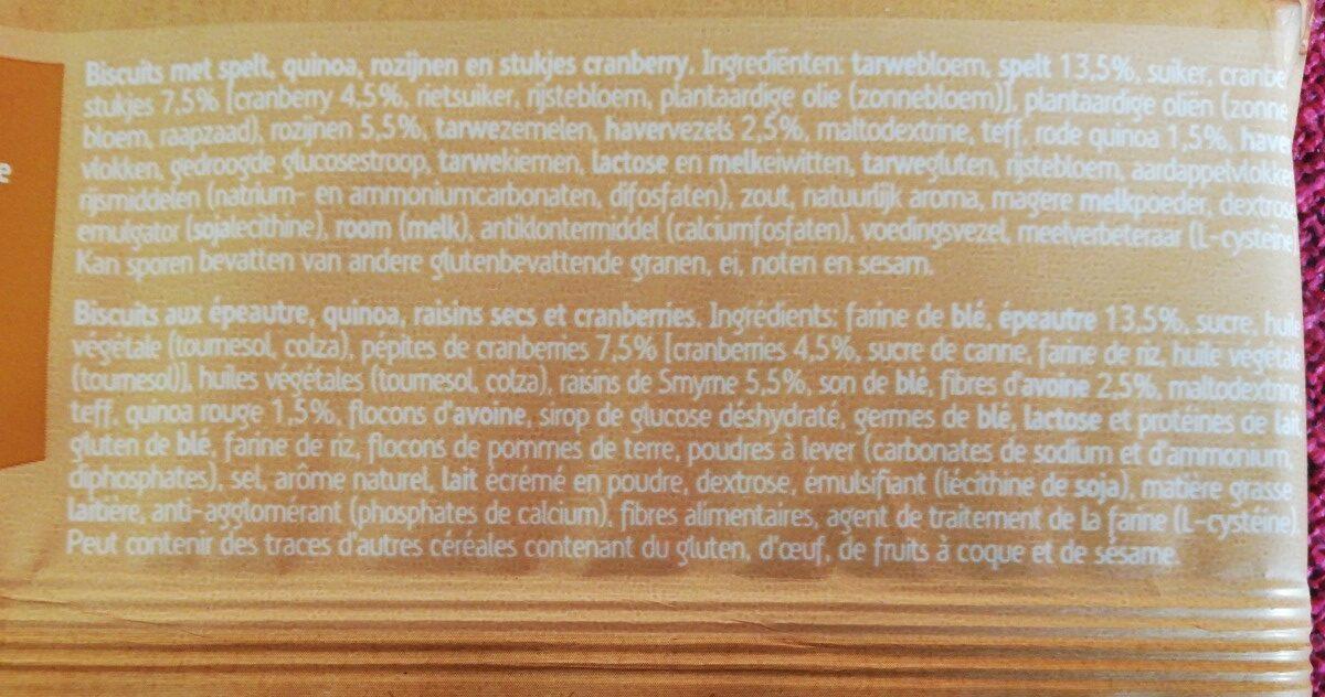 Spelt, Quinoa & Cranberry - Ingrédients - fr
