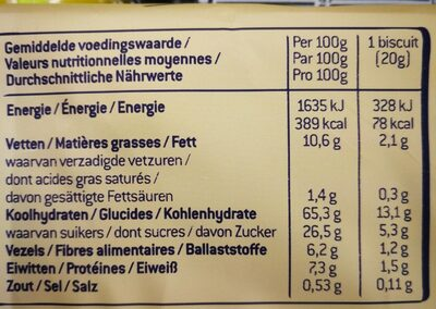 Sultana - Informations nutritionnelles - fr