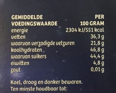 M puur chocolade - Nutrition facts