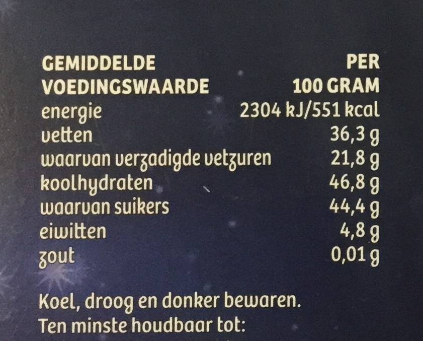 M puur chocolade - Nutrition facts - nl
