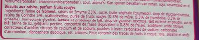 Biscuit aux raisins, parfum fruits rouges - Ingrediënten