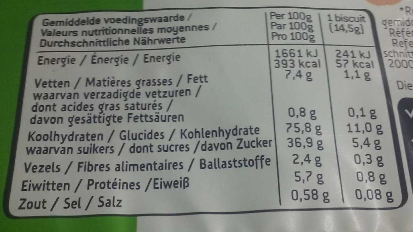 Sultana Pomme - Nutrition facts - fr