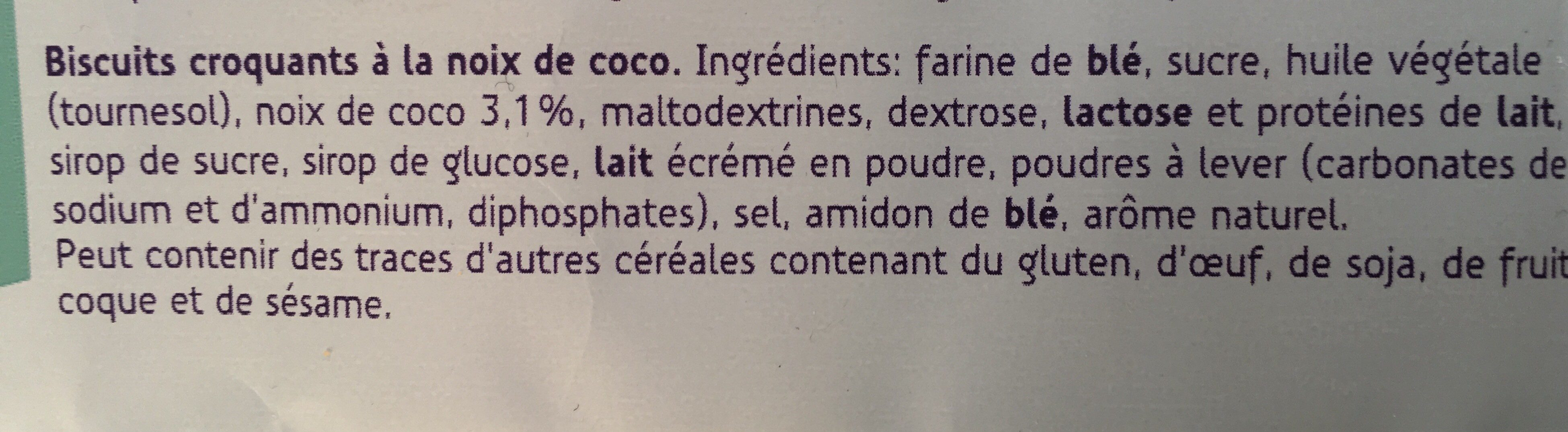 Biscuits Croquants Coco - Ingrédients - fr