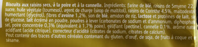 Sultana Poire Cannelle - Ingredients