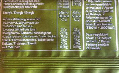 Sultana Fruit Biscuit , Appel - Informations nutritionnelles - fr
