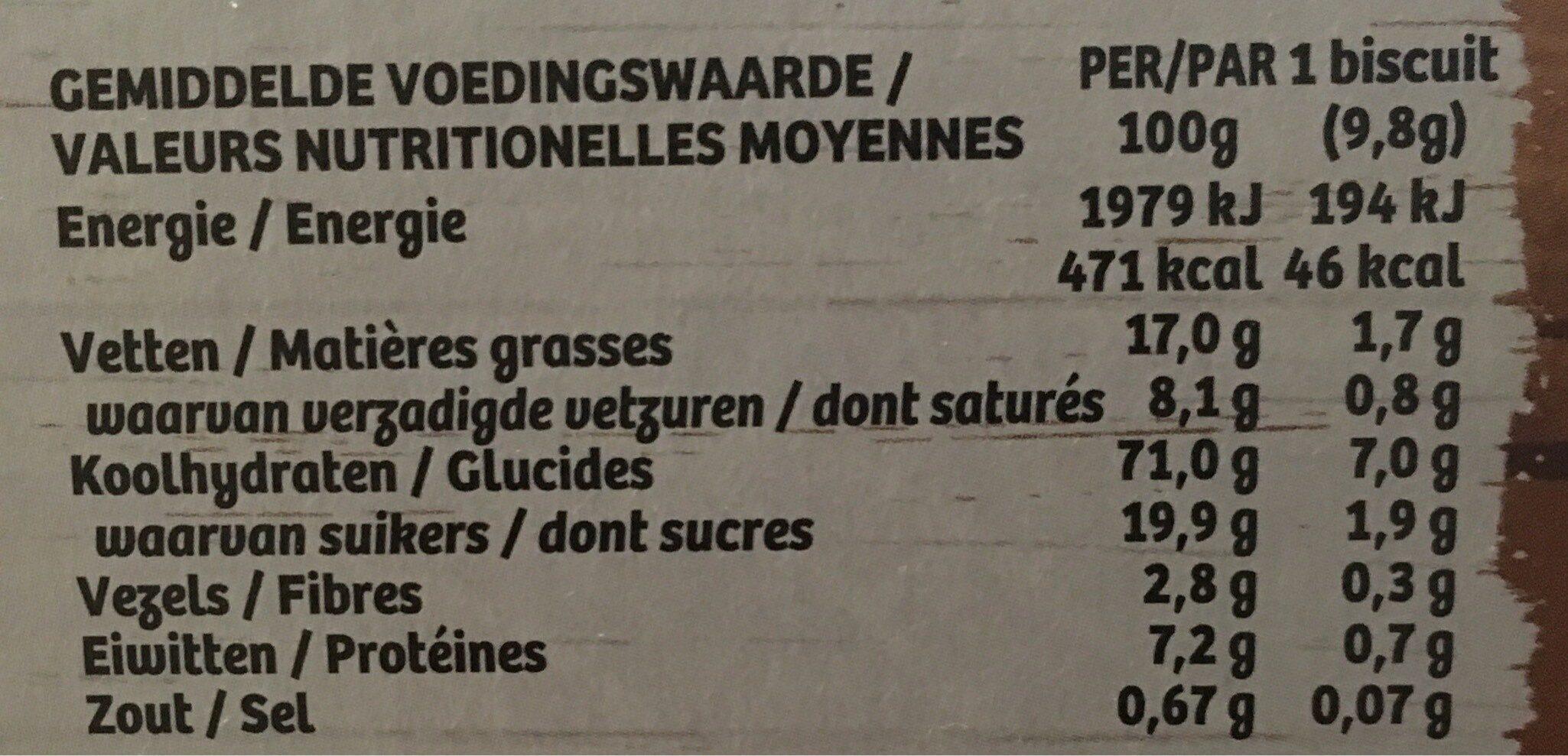 Biscuits goût vanille - Voedingswaarden - fr