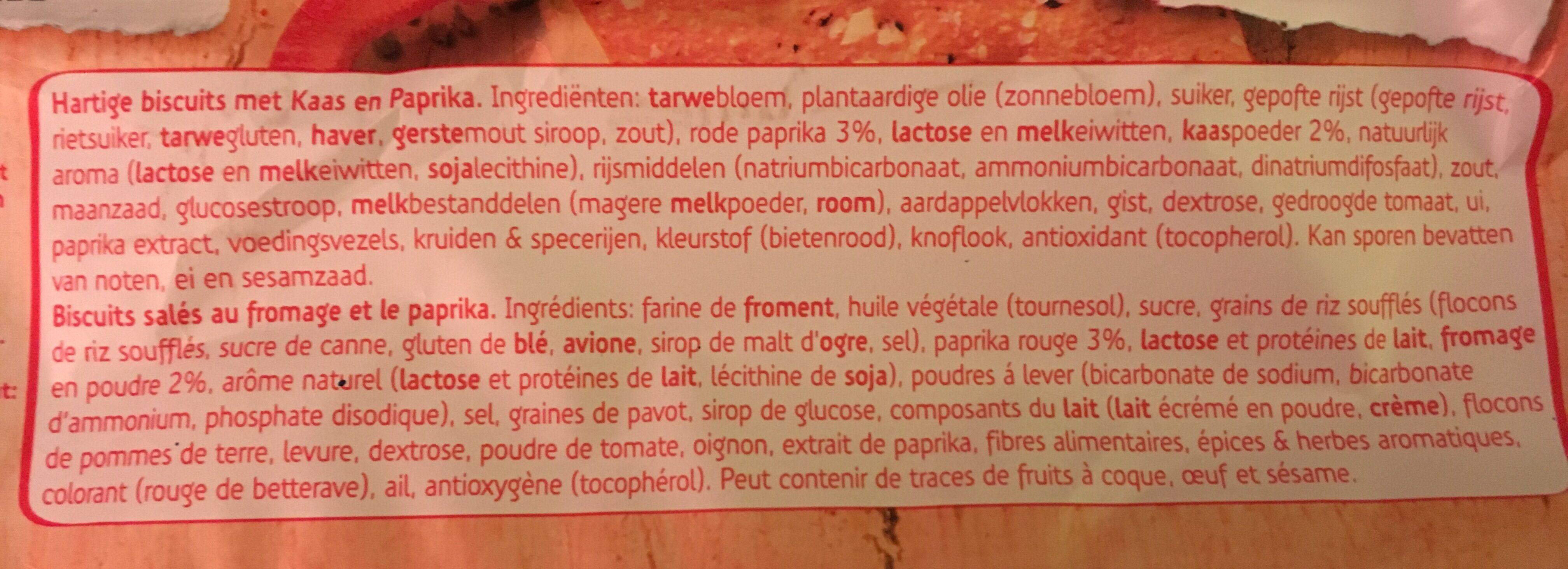 Sultana Crunchers Hartig Paprika - Ingrédients - fr