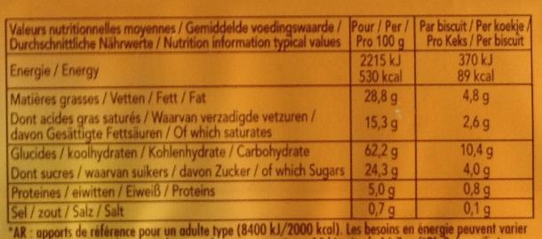 Delacre sprits original - Informations nutritionnelles - fr