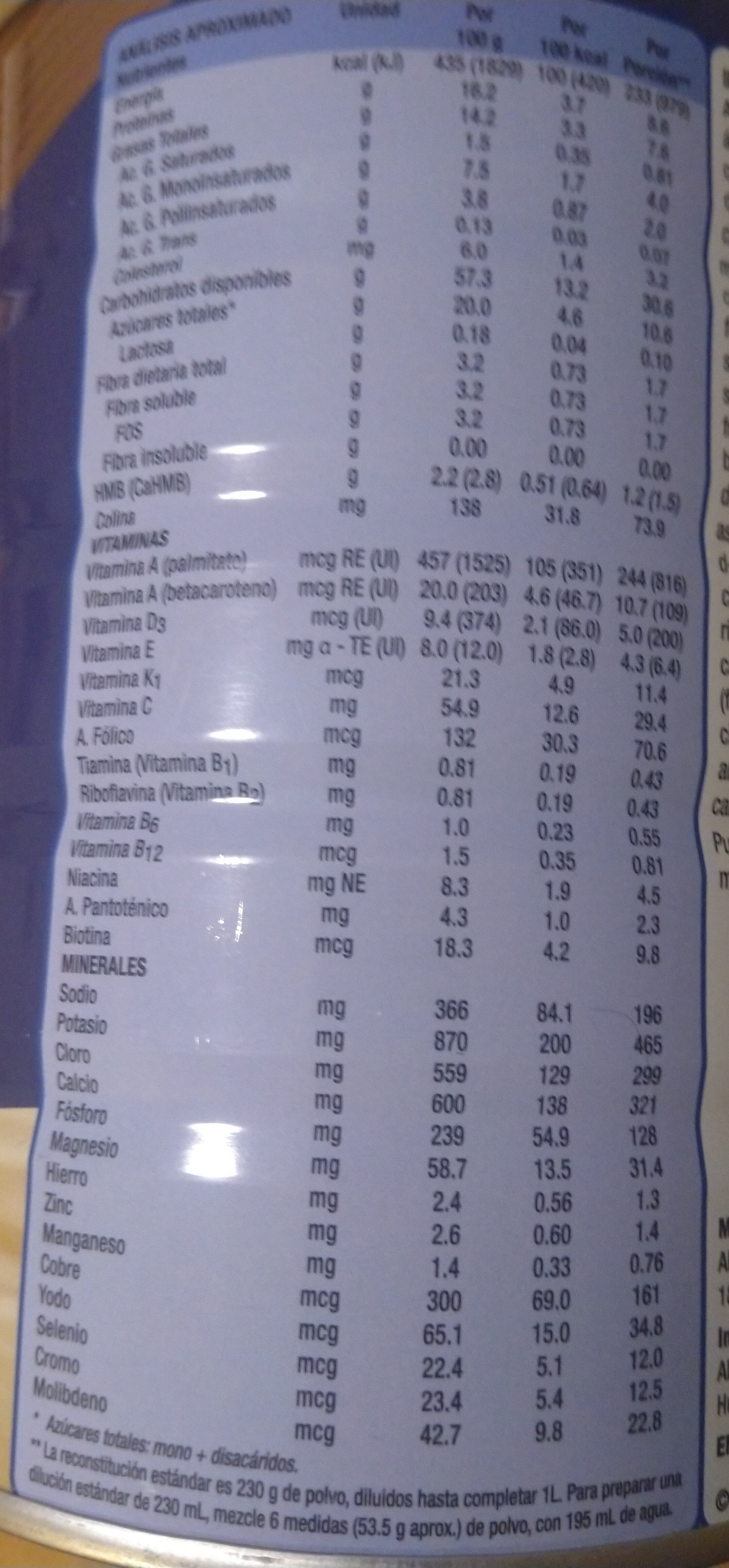 Ensure Advance Vainilla - Nutrition facts - es