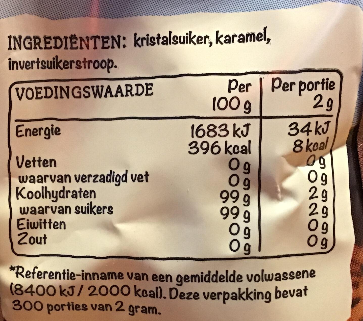 Donkere basterdsuiker - Voedingswaarden