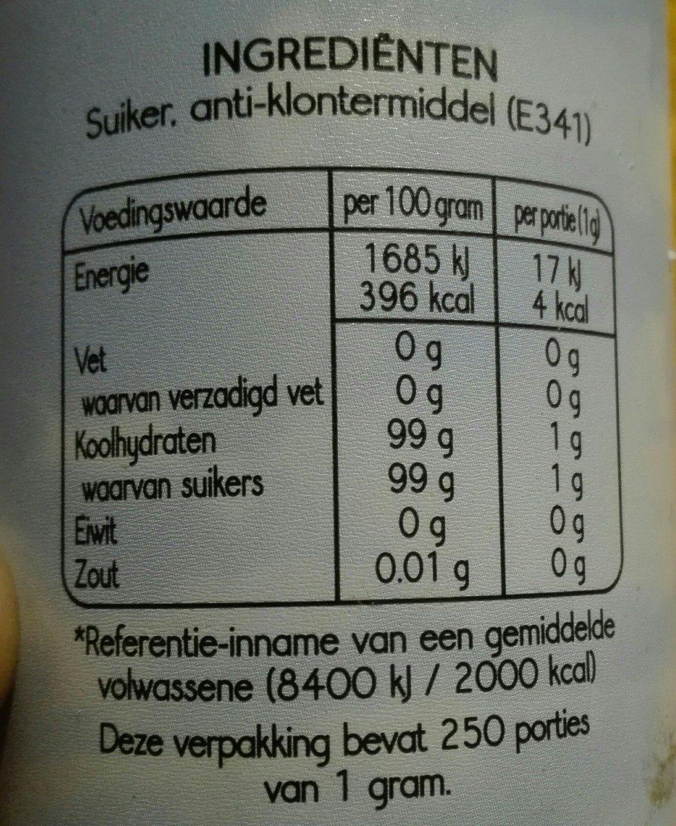 Poeder suiker - Ingrediënten - nl