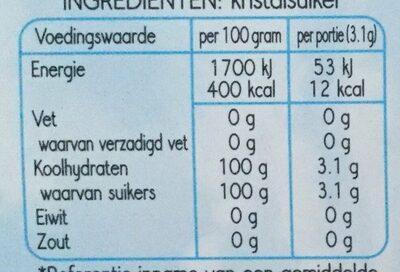 Mini Suikerklontjes - Nutrition facts - nl