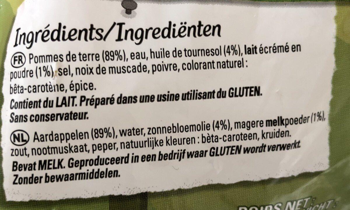 Purée de pommes de terre surgelée - Ingredients