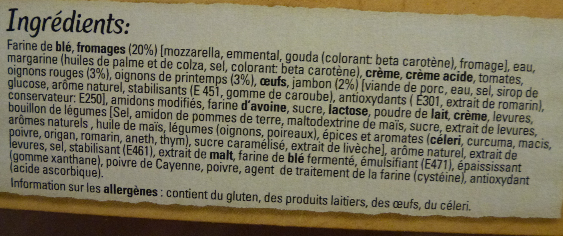 Original Bun's - Jambon 4 Fromages - Ingrédients - fr