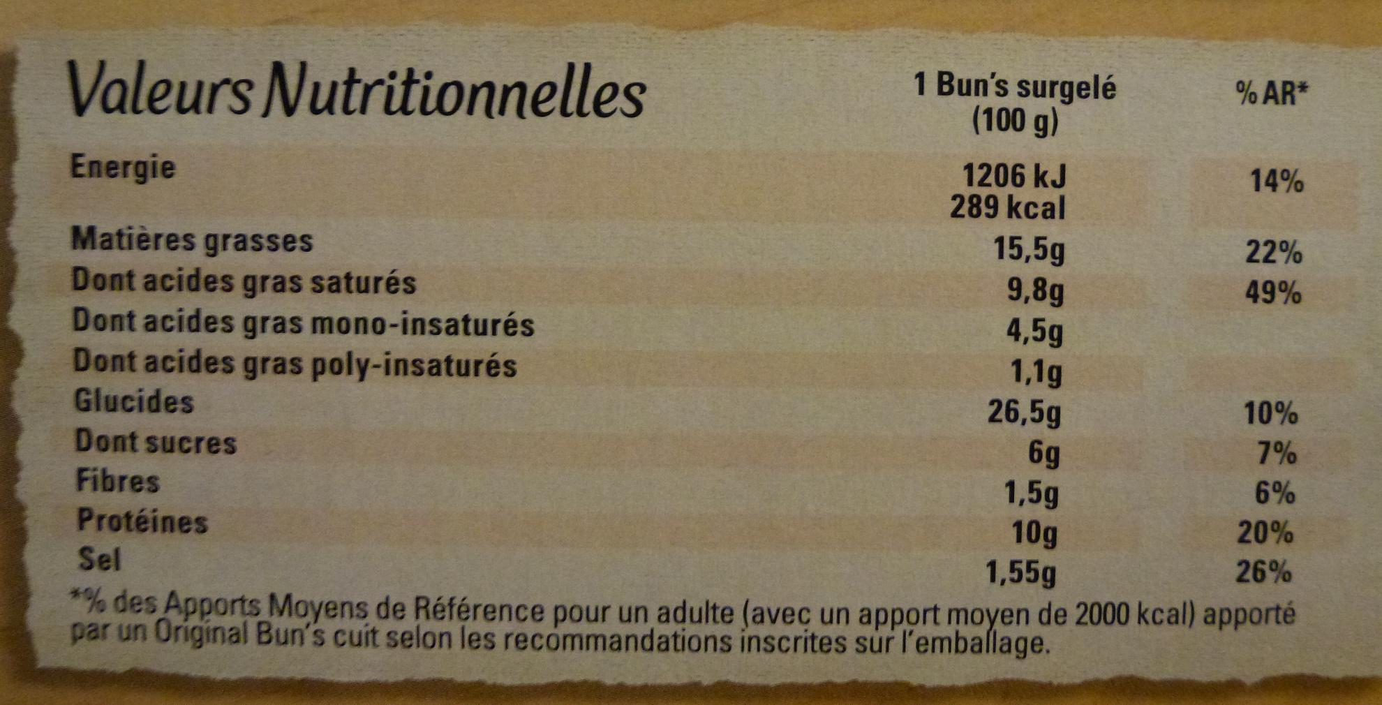 Original Bun's - Jambon 4 Fromages - Informations nutritionnelles - fr