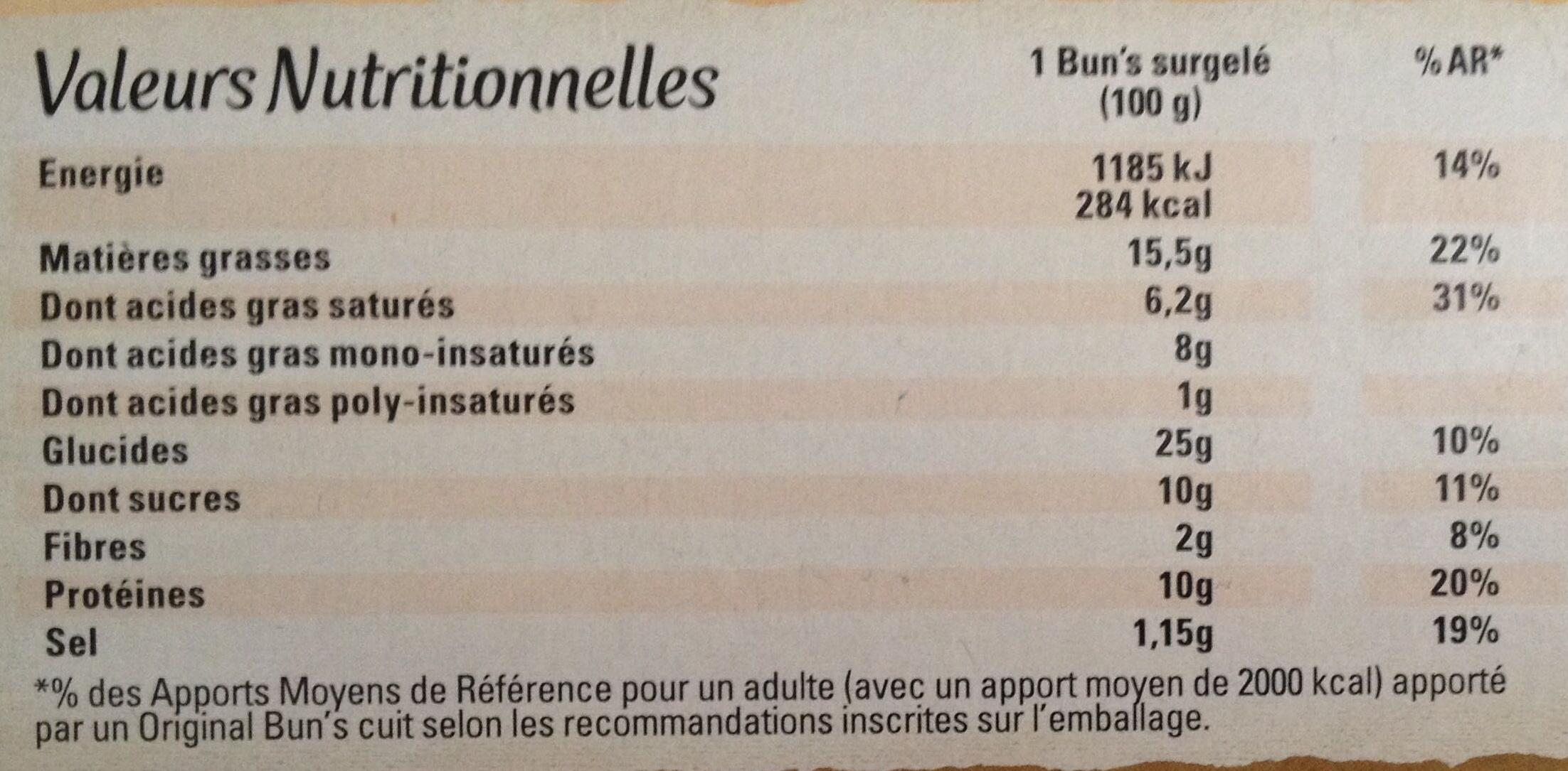 Original Bun's Recette Italia - Informations nutritionnelles - fr