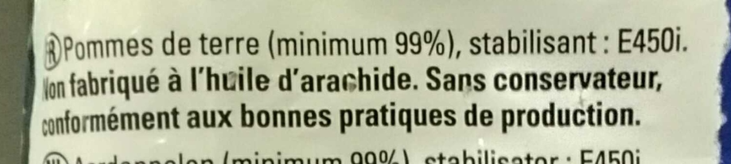 Frites favorites - Ingrédients
