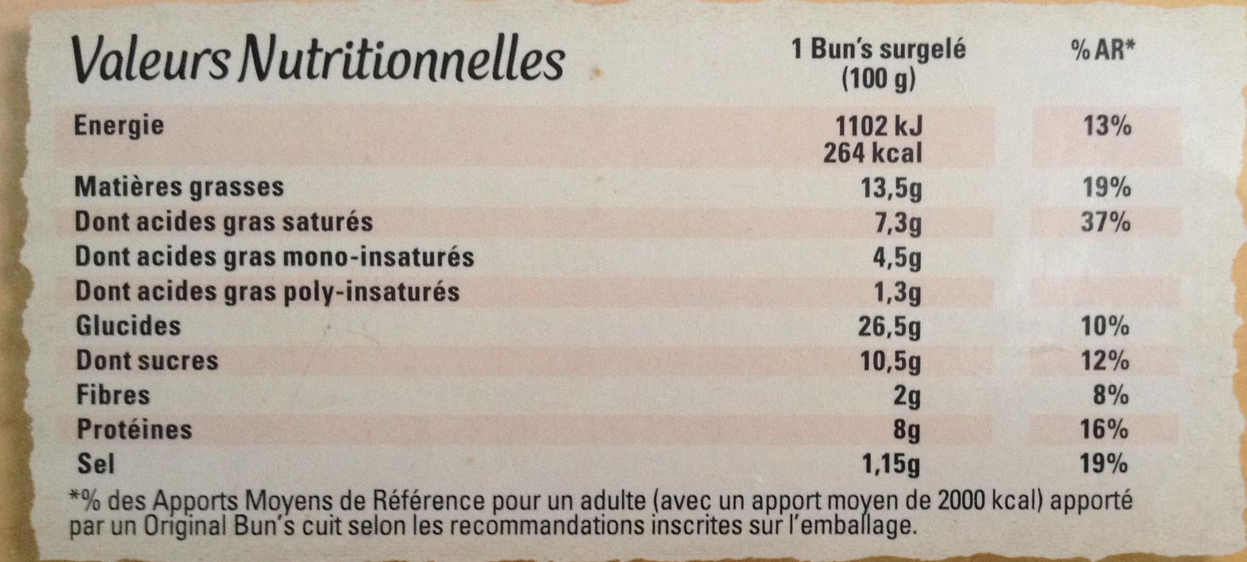 Original Bun's - Poulet rôti & thym - Nutrition facts - fr