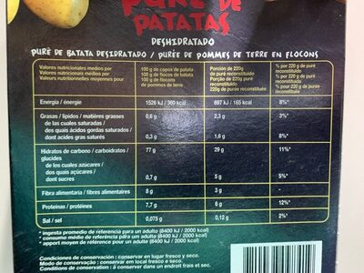 Puré de patatas deshidratado - Información nutricional