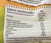 Frites Fraîches Coupe Rustique - Informations nutritionnelles