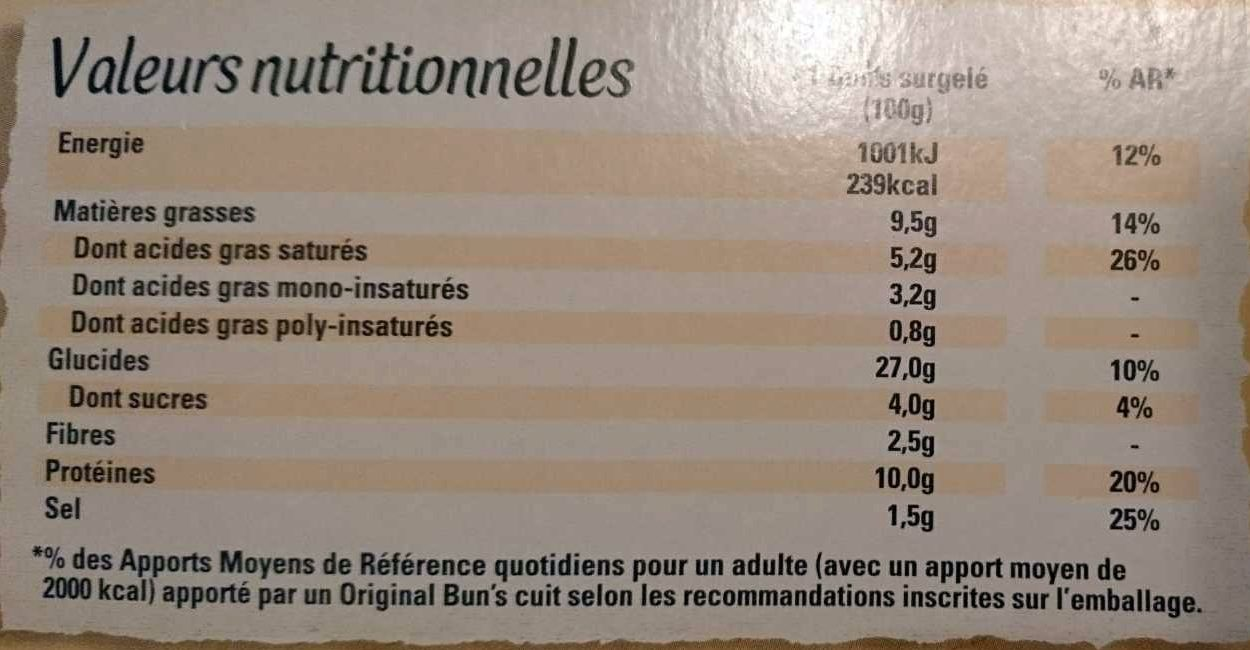 Original Bun's Bolognaise - Nutrition facts - fr