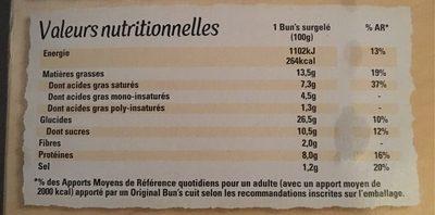 4 Original Bun's Poulet Rôti et Thym - Informations nutritionnelles - fr