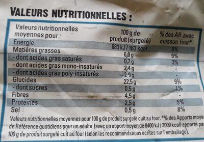 Côté Brasserie - Nutrition facts - fr