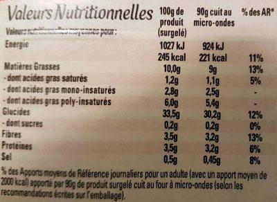 Frites Frit'up croustillantes - Informations nutritionnelles
