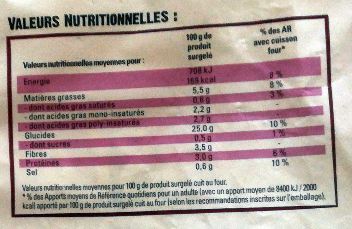 Just au Four Allumettes - Valori nutrizionali - fr