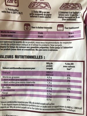 Frite Four - Nutrition facts - fr