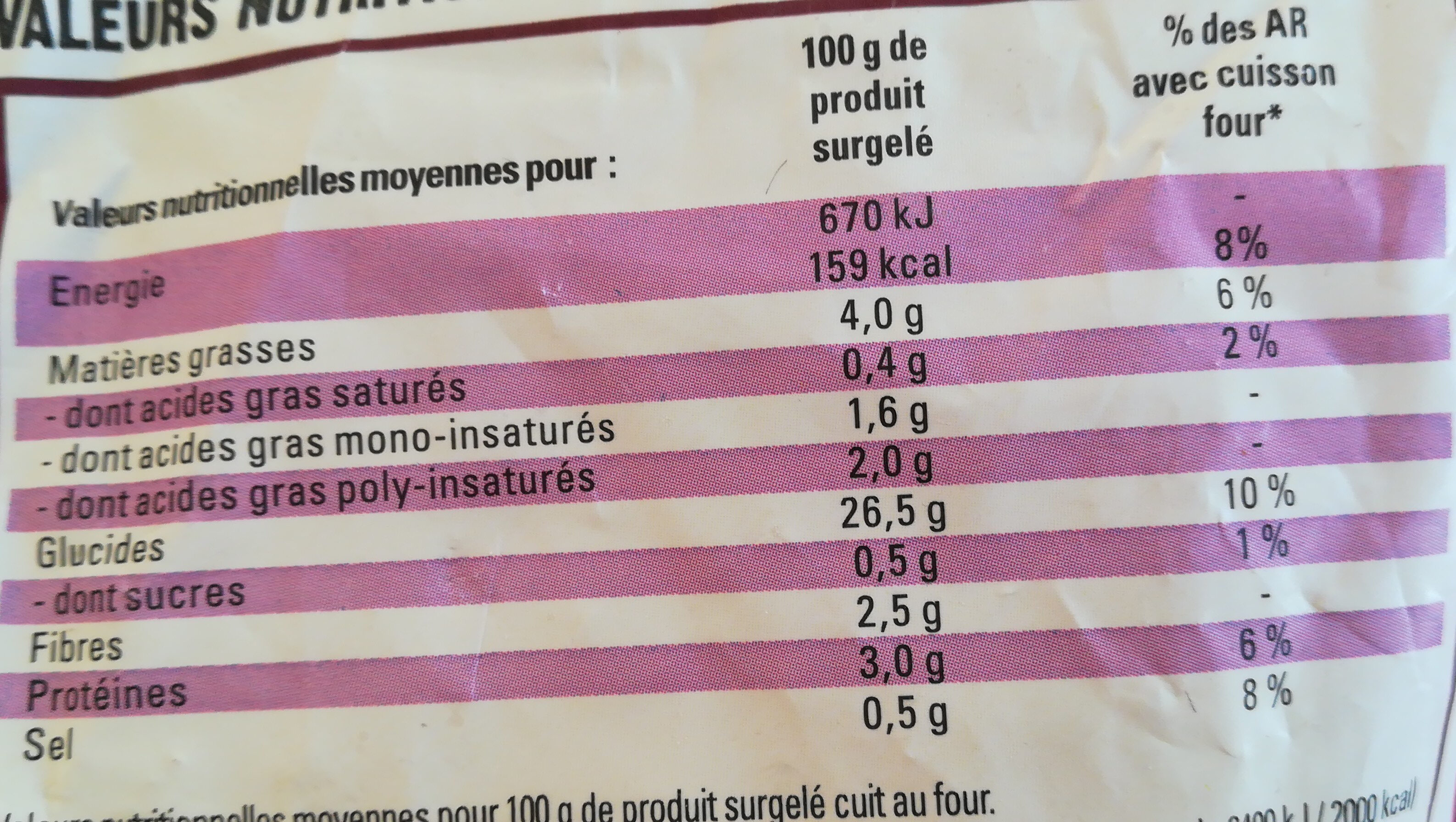 Just au four - Informations nutritionnelles - fr