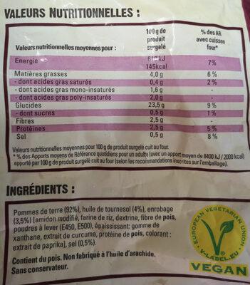 "Frites "" - Voedingswaarden"