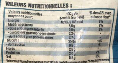 Côté chef - Voedingswaarden - fr