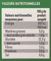 Street Fries Mexican Veggie - Nutrition facts - fr