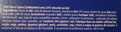Pains D'épices enrobés de chocolat - Ingredients - fr