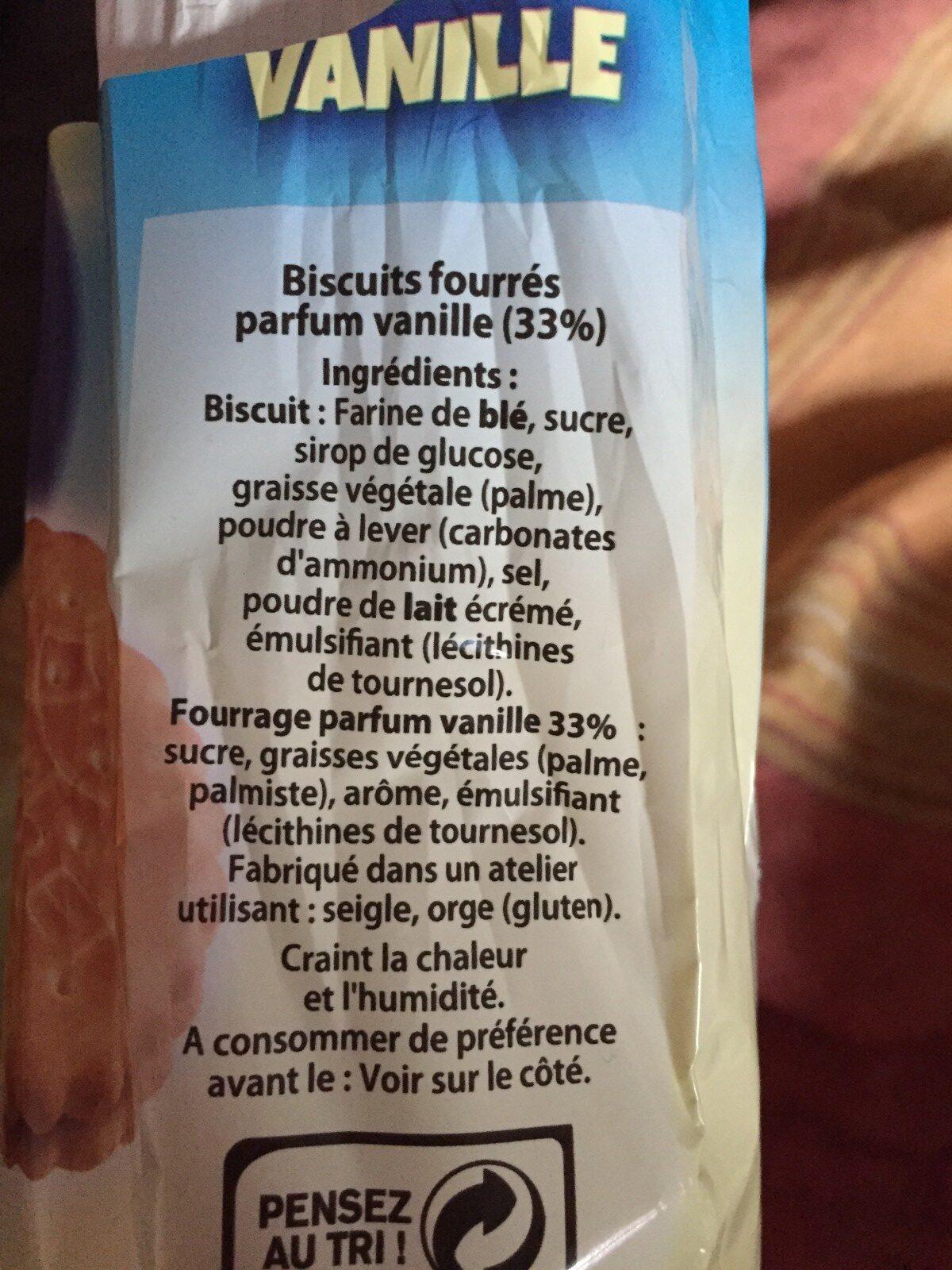 Biscuits fourrés parfum vanille - Ingredients - fr