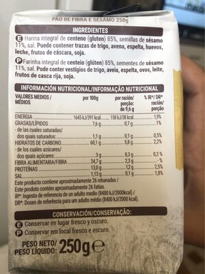 Pan fibra y sesamo - Informació nutricional - es