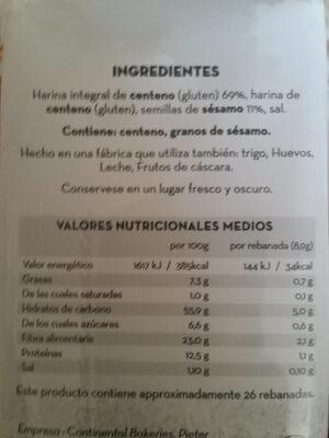Pan de Fibra y Sésamo - Ingredients