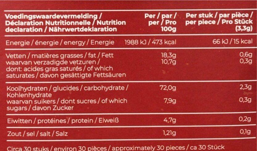 snack cups - Voedingswaarden - fr