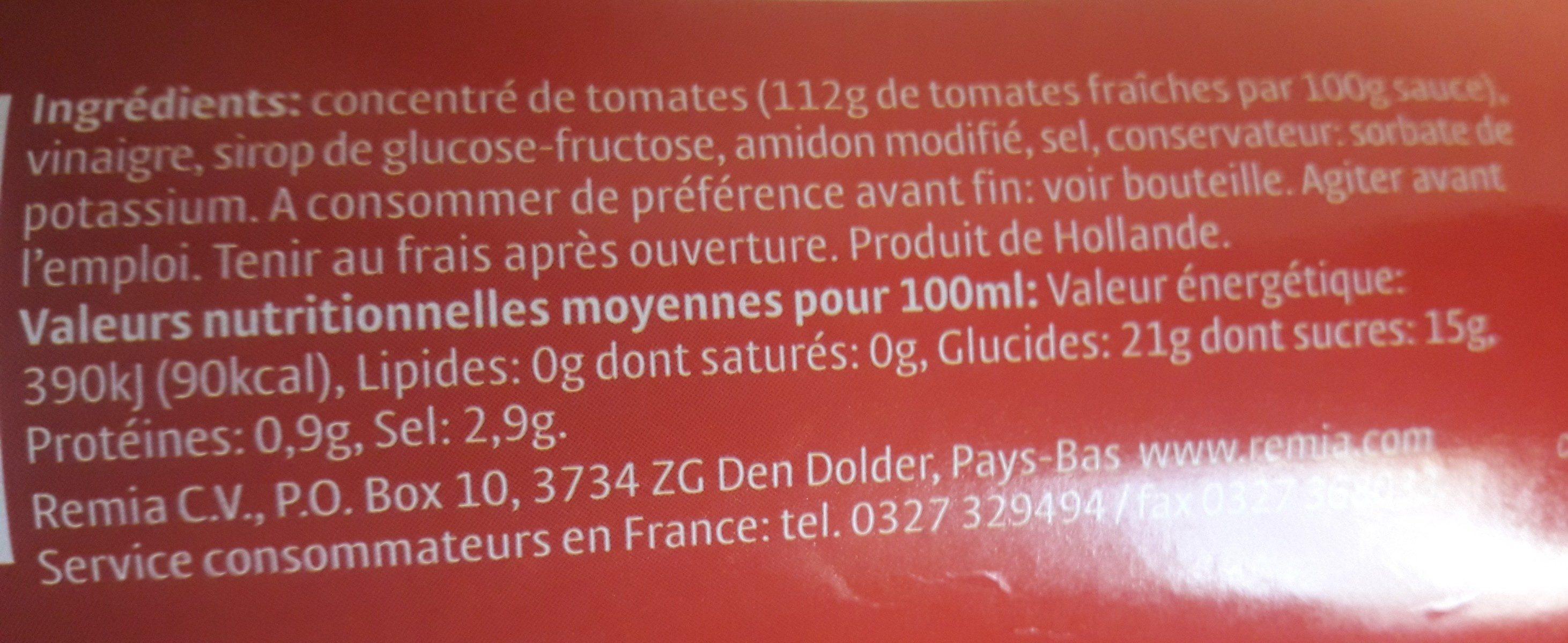 Tomato ketchup - Ingredients - fr