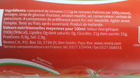 Tomato ketchup - Nutrition facts - fr