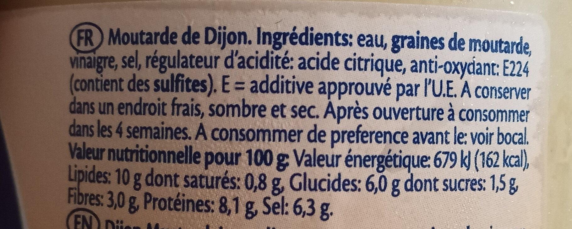 Moutarde de Dijon - Ingrediënten - fr
