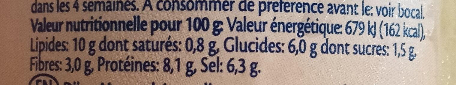 Moutarde de Dijon - Voedingswaarden - fr