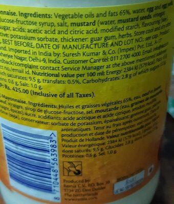 Mayonnaise délicieuse et crémeuse - Informations nutritionnelles - fr