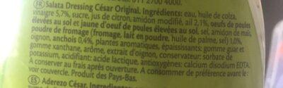 Remia Original Caesar Salad Dressing - Ingrediënten - fr
