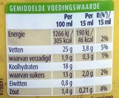 Hawaīsaus - Nutrition facts - nl