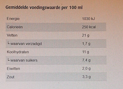 Mosterdsaus - Nutrition facts - nl